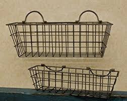 amazon com rusty wire wall basket set country primitive home