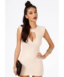 missguided marcela keyhole sequin mini dress in natural lyst