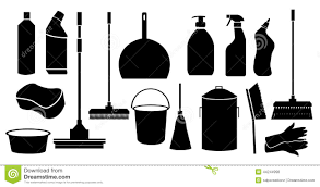 cleaning tool icons set stock vector image 44244998