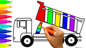learn colors for kids with construction truck coloring page dump