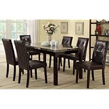 dining room sets 7 piece amazon com 7 piece dining set in rich cappuccino coaster