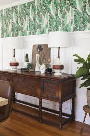 dining room blue wallpaper accent wall with dining room