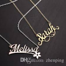 stainless steel name necklace images Wholesale stainless steel birthday gift personal silver delicate jpg
