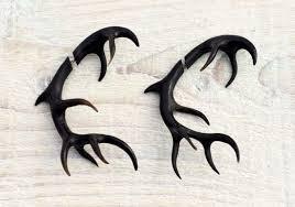 antler deer fake gauges earrings black horn tribal earrings