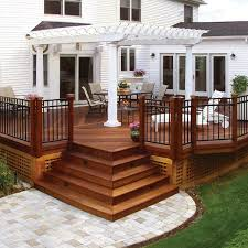 Cheap Backyard Deck Ideas Wood Deck With Pergola And Paver Walkway Archadeck Outdoor Living