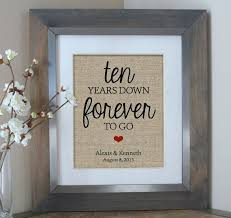 10 year anniversary gift ideas for ten years burlap print 10 year anniversary gift gift for