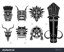 tribal masks ornamental elements set stock vector 268755143