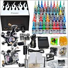 tattoo kit with 2 tattoo machines power 40 colors inks grips
