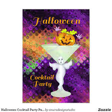 halloween cocktail party pumpkin 5x7 paper invitation card