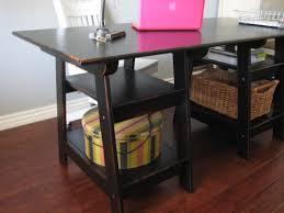 Black Wood Desk Furniture Captivating Sawhorse Desk For Home Furniture Ideas