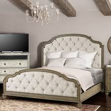 sonoma valley wood u0026 upholstered bed in vintage champagne humble