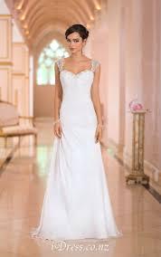 romantic a line cap sleeves open back beaded chiffon wedding dress