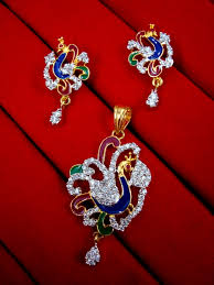 peacock design earrings gold plated peacock design pendant and earrings for women