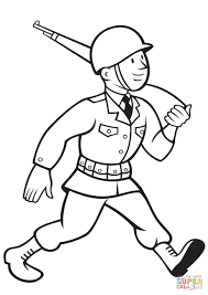 ww2 american soldier marching with rifle coloring page free