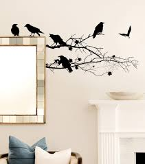 removable vinyl wall art halloween wall decal happy halloween large size of decoration adorable halloween wall decal crows on branch design spider web black