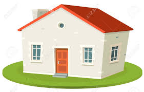illustration of a cartoon french styled built small house for