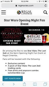opening night fan event star wars the last jedi star wars tickets last jedi imax 3d 12 14 6pm tickets in