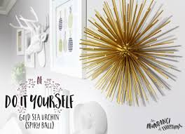 do it yourself gold sea urchin spiky ball for gallery wall or