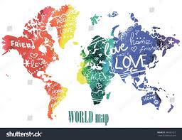 World Map Posters by Peace Friendship Love Posters Postcards Print Stock Vector