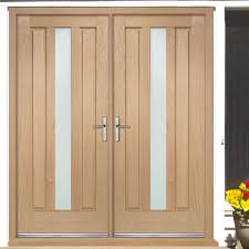 Double Glazed Wooden Front Doors by Padova External Oak Double Door And Frame Set With Obscure Safety