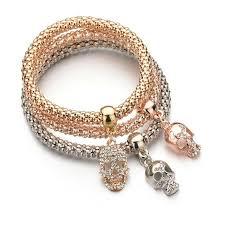 luxury bracelet images 3 pcs set luxury skull charm bracelet skull obsessed jpg
