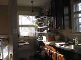 a kitchen without traditional cabinets thought not about food