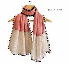buy apparels light pink colour pure khadi stole scarf with black