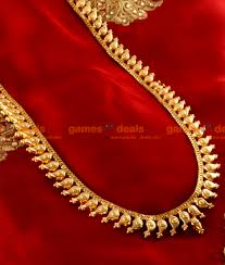 arrg05 traditional maanga malai haram design gold plated jewellery