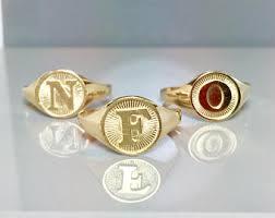 Gold Monogram Rings Vintage Monogram Ring Etsy