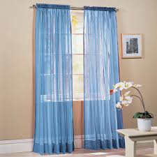 How To Hang Sheer Curtains With Drapes One Pair Silky Blue Curtain Hanging On Silver Iron Rod For Window