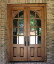 custom solid wood double entry door design with narrow window and