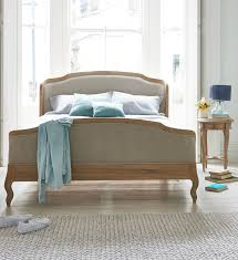 Winged Tufted Headboard by Joëlle Bed French Bed Natural Linen And Solid Oak