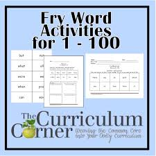fry first hundred printables 1 100 the curriculum corner 123