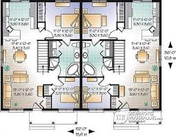 semi detached house floor plan multi family plan w3050 detail from drummondhouseplans com
