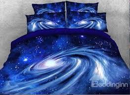 Galaxy Bed Set Onlwe 3d Spiral Galaxy Universe Printed Cotton 4 Blue