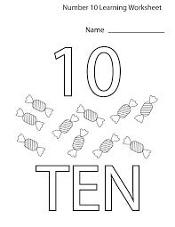 number 10 worksheets for children kiddo shelter