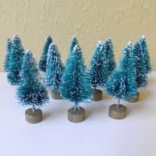 12pcs mini sisal bottle brush trees snow