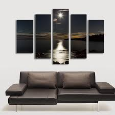 home decor canvas 5 panel wall art moon picture night sea landscape painting for
