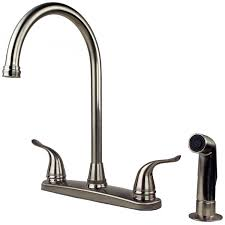 single kitchen faucet with sprayer sink faucet design bennington 112105 ss 2 handle high arc kitchen