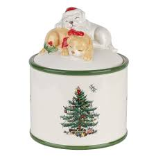 amazon com spode christmas tree puppy candy jar candy dishes