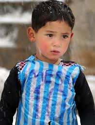 afghan boy wearing plastic bag lionel messi jersey could meet his