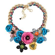 necklace chunky images Lovelycharms flower floral statement necklace chunky buy velo store jpg