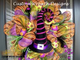 Easy Halloween Wreaths by Halloween Witch Hat Deco Mesh Wreath Deco Mesh Wreaths And Witches