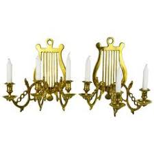 Candelabra Wall Sconces Pair Of Vintage Italian Gilt Tole Brass Three Light Candelabra