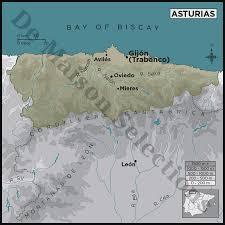 Asturias Spain Map by Asturias