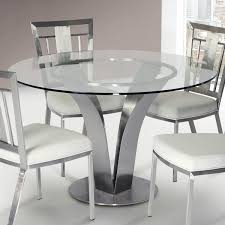 glass modern dining table armen living cleo contemporary dining table in stainless steel