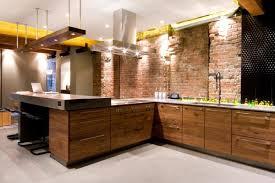 cuisine brique meubles cuisine bois bois massif parement mural brique azur