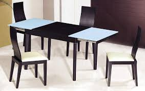 Frosted Glass Dining Table And Chairs Black Frosted Glass Dining Room Set With Extension Leaf