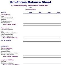 Pro Forma Balance Sheet Template Pro Forma Statement Exle Search Pro Forma Financial