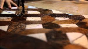 Patchwork Cowhide Rug Making Of Patchwork Cowhide Rugs By Mosaichides Com Youtube